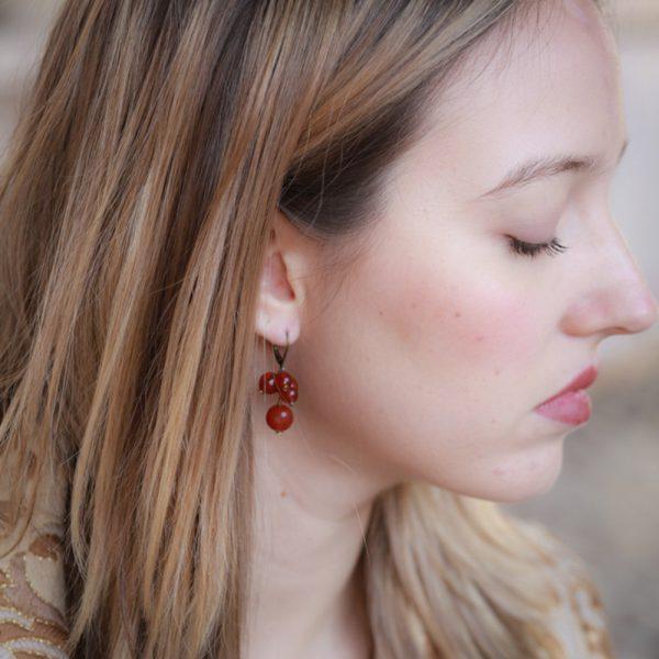 Pepelù - Orecchini grappolo piccolo in ottone e pietre dure