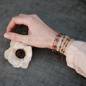 Pepelù - Bracciale in ottone anticato e pietre dure
