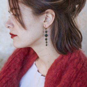 Pepelù - Orecchini pendenti in ottone anticato e pietre dure