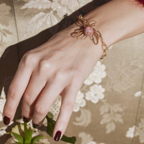 Pepelù - Bracciale con fiore traforato e pietra dura