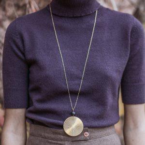 Pepelù - Collana lunga medaglione plissettato