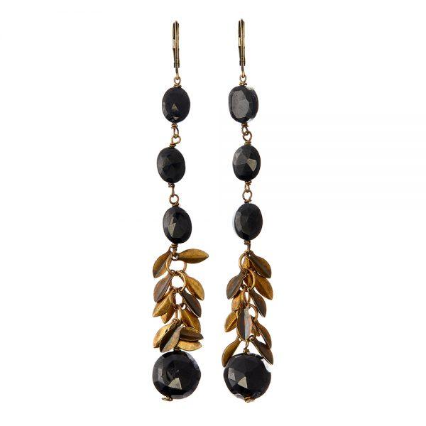 Pepelù - Orecchini pendenti con pietre e micro foglioline plissé